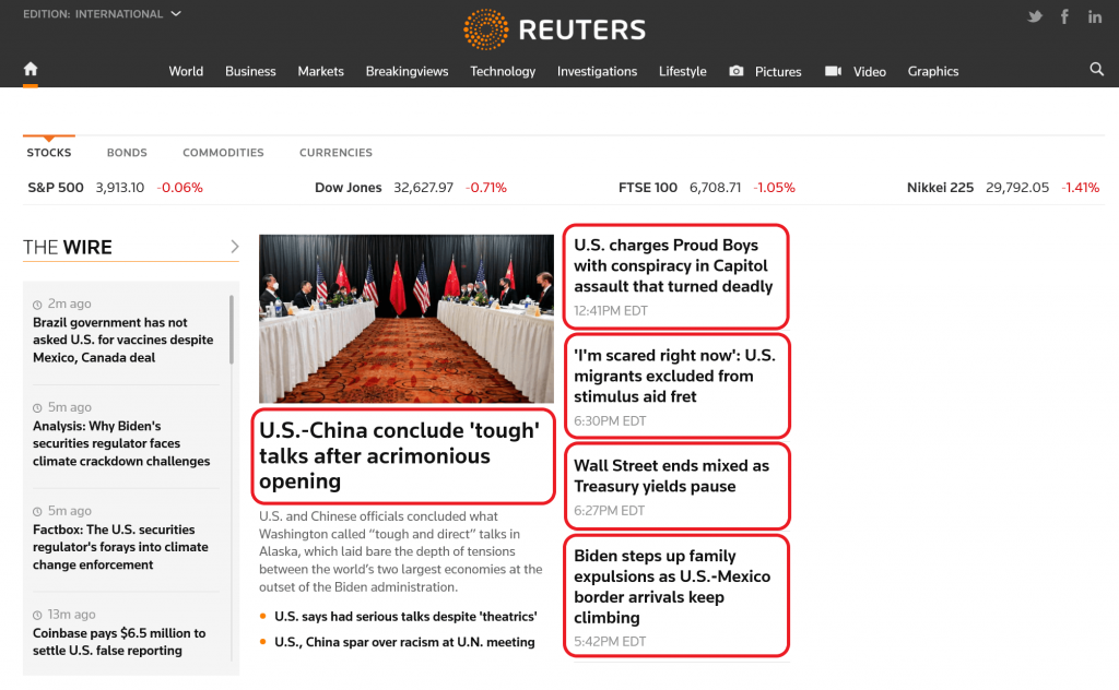 Reuters front page