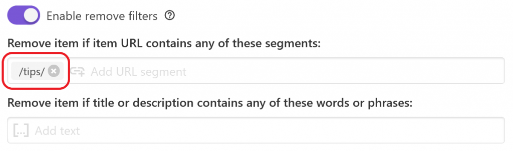 URL segment filter in Feed Creator