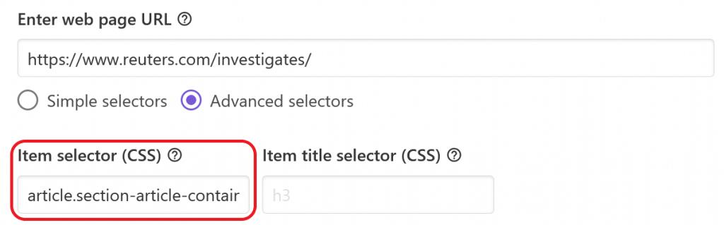 Main item selector in Feed Creator