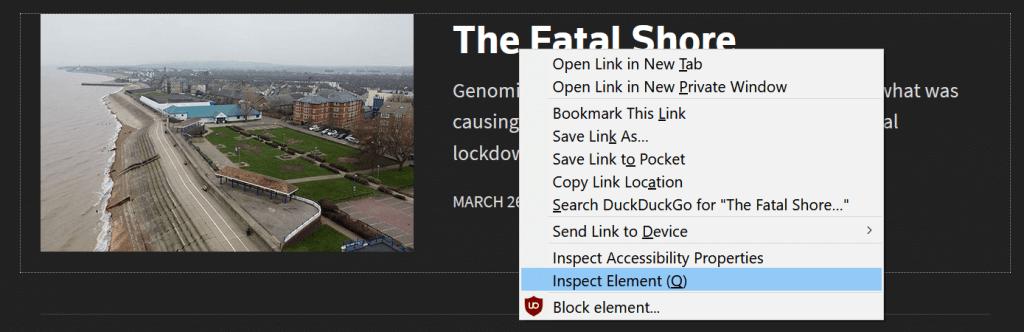 Firefox context menu showing the 'Inspect Element (Q)' menu item.