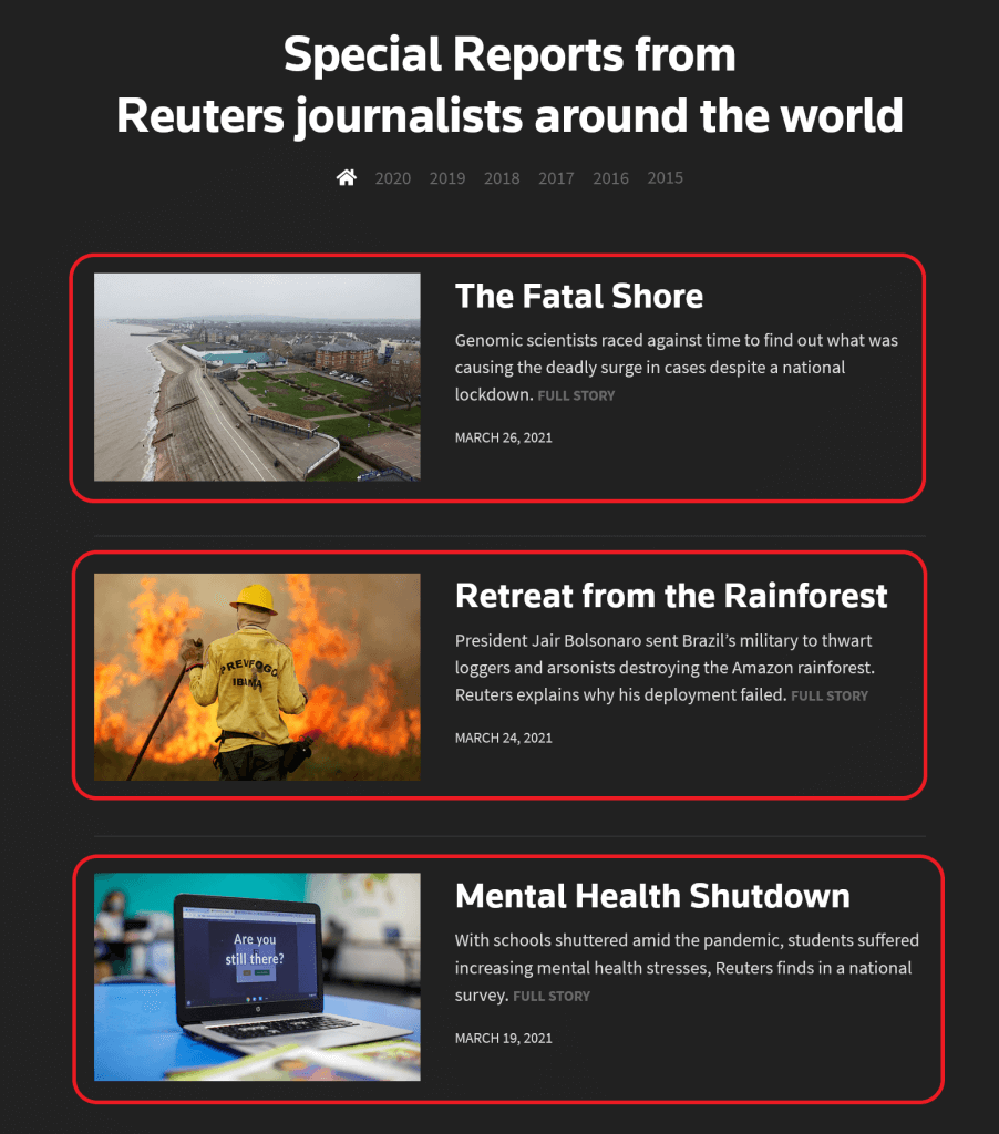The items we want to turn into a feed from the Reuters Investigates site.
