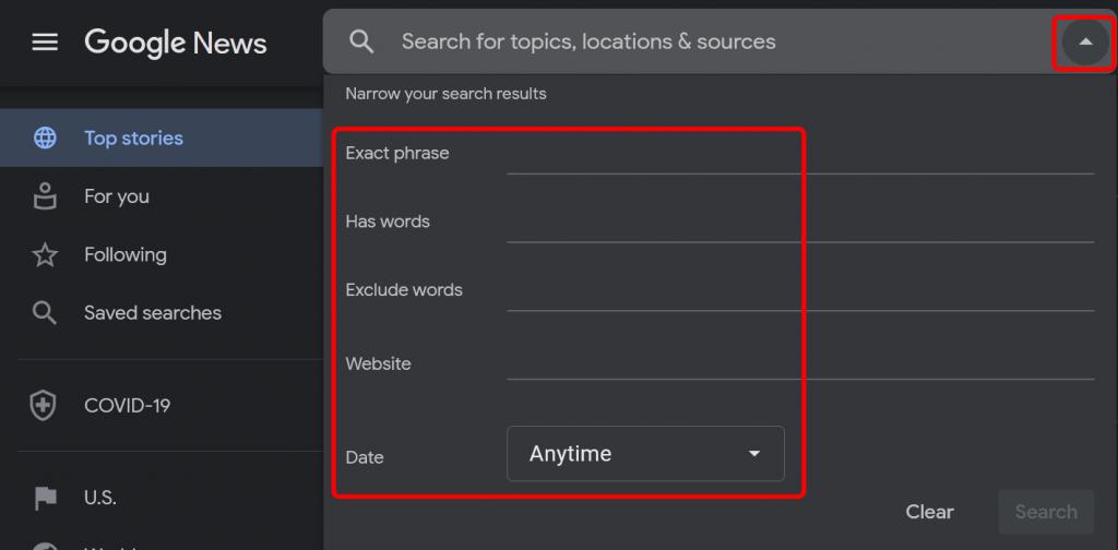 Google News advanced search