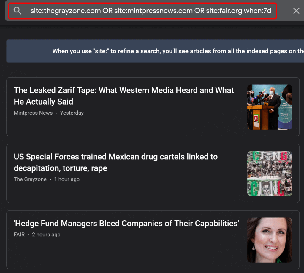 Google News search results for The Grayzone and MintPress News.