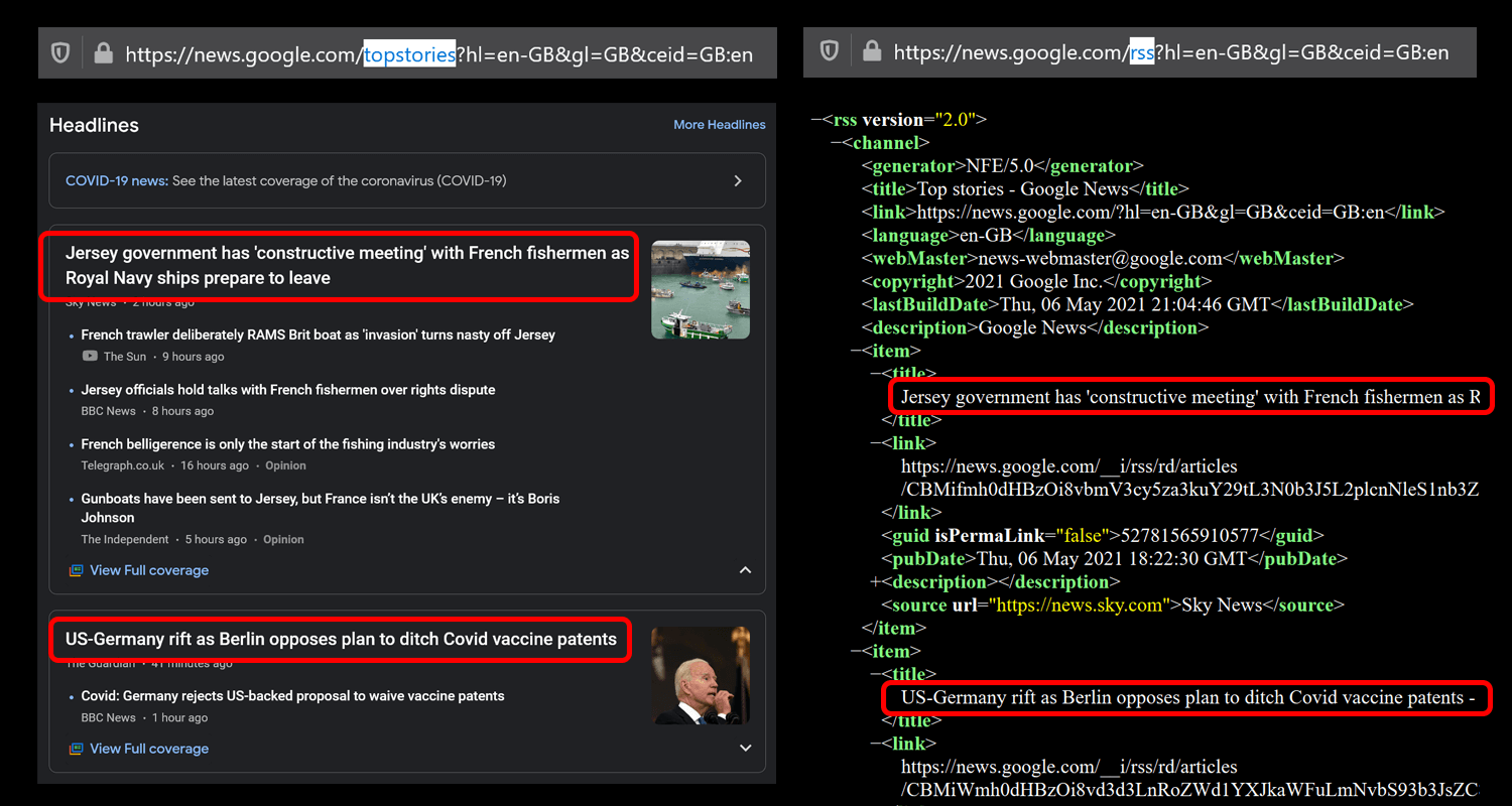 Google News website and RSS feed side by side.